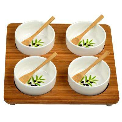 Bamboo Entertaining Set with 4 Ceramic Bowls