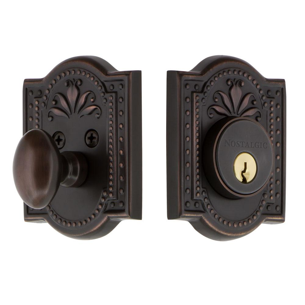 Meadows Plate 2-3/8 in. Backset Single Cylinder Deadbolt in Timeless Bronze