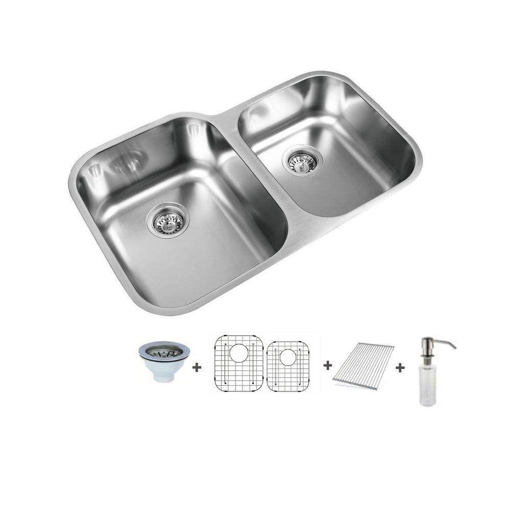 Ukinox 315 In Undermount 6040 Split Double Bowl Stainless Steel Undermount Sink