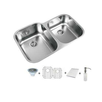 31.5 in. Undermount 60/40 Split Double Bowl Stainless Steel Undermount Sink