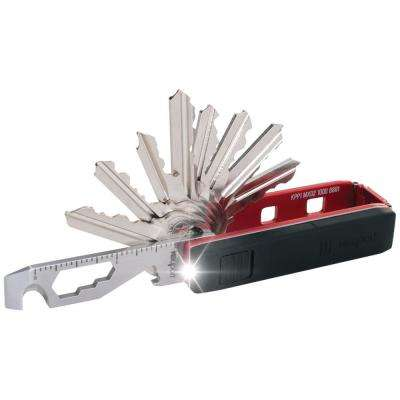 Pivot Essential Bundle Key Organizer Multi-Tool with Mini-Flashlight and KeyportID Lost and Found Service (Red)