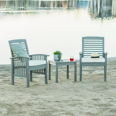 Grey Wash 3-Piece Classic Wood Outdoor Patio Chat Set with Cream Cushions