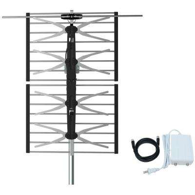 HOMEWORX HDTV Outdoor 150-Miles Range Antenna with Digital Signal Amplifier and Coaxial Cable UHF/VHF/FM