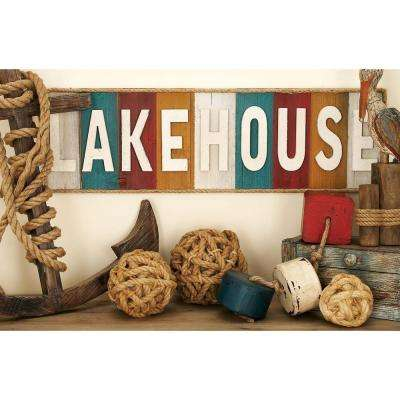 "36 in. x 11 in. Coastal Living Vintage ""LAKEHOUSE"" Wall Sign"