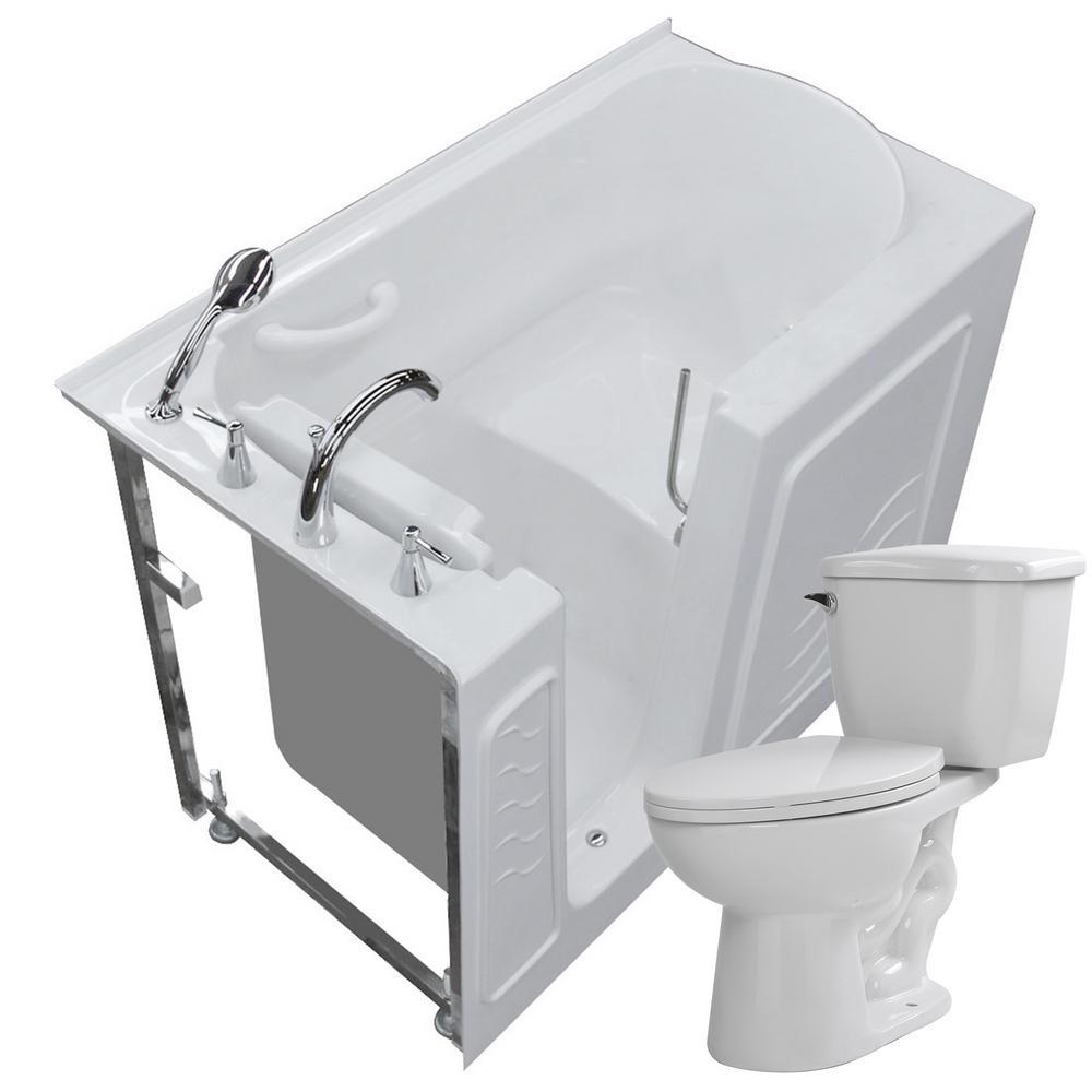 52.75 in. Walk-In Non-Whirlpool Bathtub in White with 1.28 GPF Single Flush Toilet