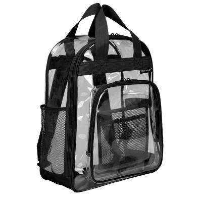 17 in.  Black Clear School Backpack/Travel Daypack with Top Handle Straps and Multiple Pockets