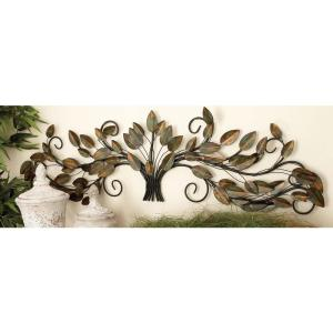 47 inch x 14 inch New Traditional Brown and Green Metal Gathered Leaves Wall Decor by