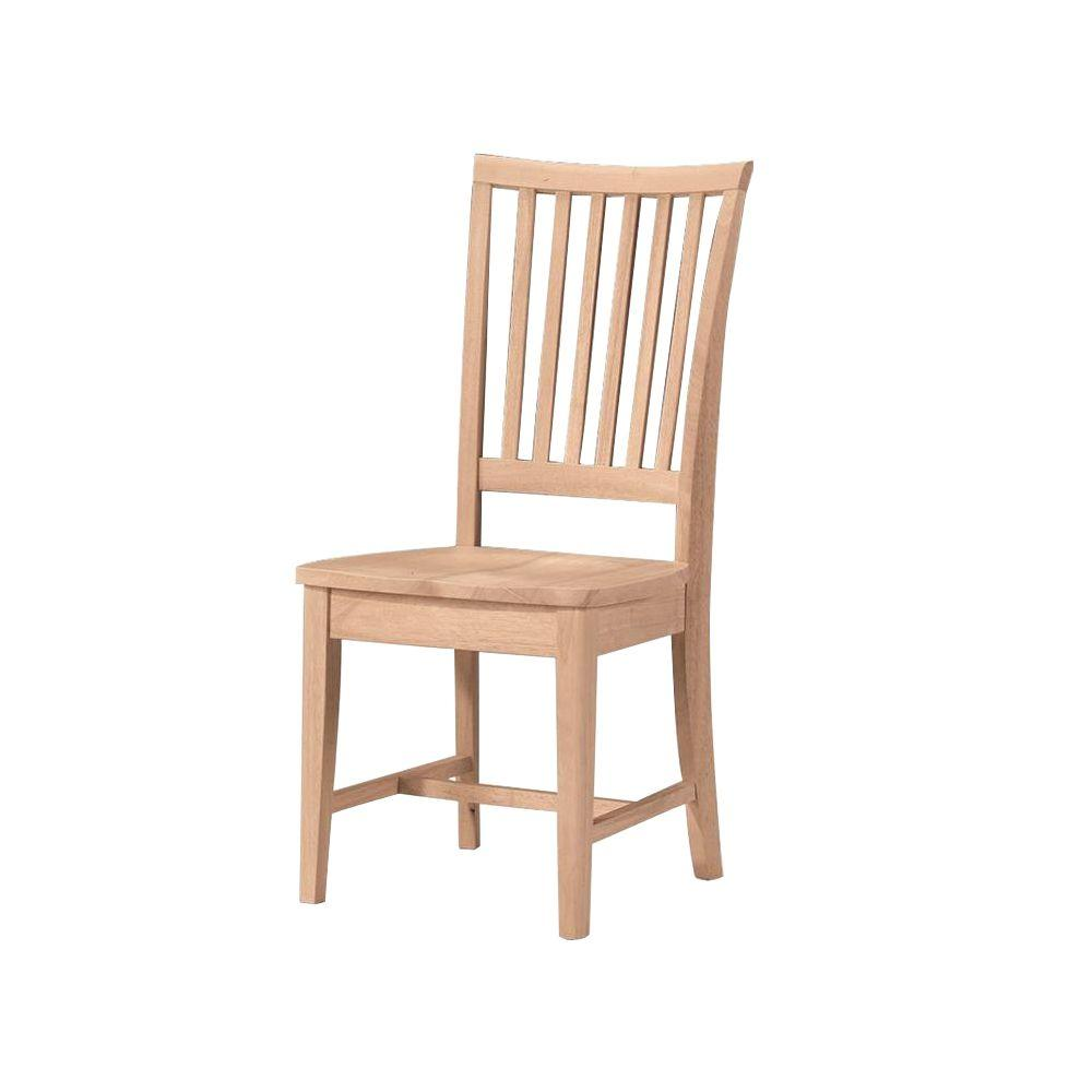 Unfinished Wood Mission Dining Chair  Set of 2. Unfinished Wood   Dining Chairs   Kitchen   Dining Room Furniture