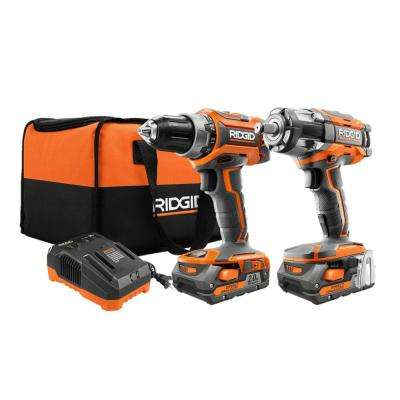 18-Volt Lithium-Ion Cordless Brushless Drill/Driver and Impact Wrench Combo Kit with (2) 2.0 Ah Batteries, Charger, Bag