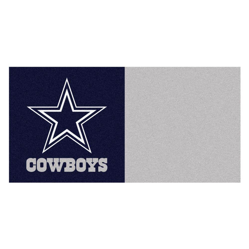 FANMATS NFL - Dallas Cowboys Navy Blue and Grey Nylon 18 in. x 18 in. Carpet Tile (20 Tiles/Case)