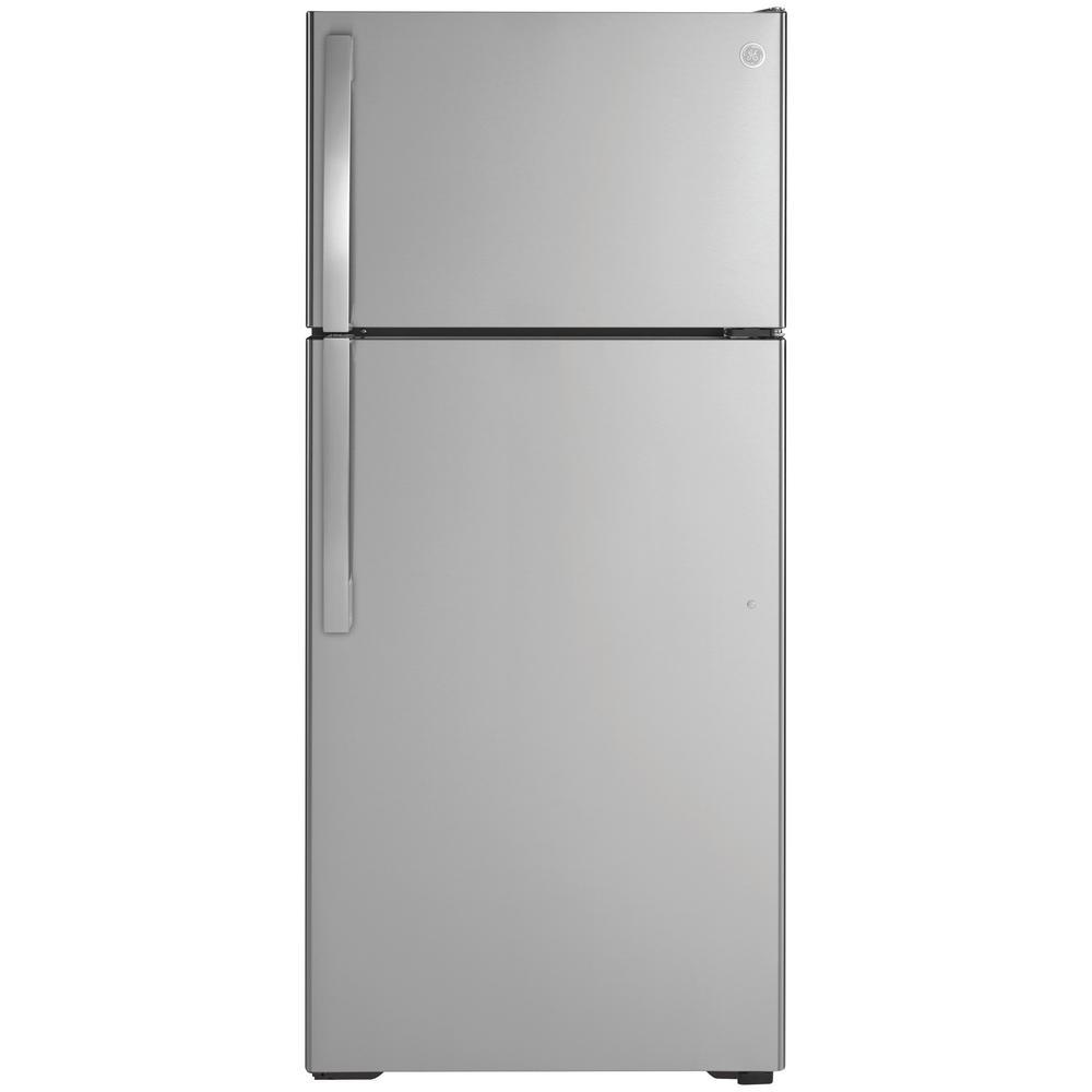 GE 16.6 cu. ft. Top Freezer Refrigerator in Stainless Steel