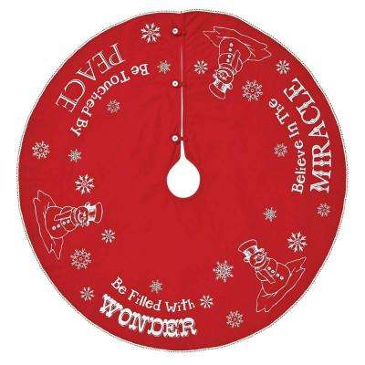 48 in. Cotton Winter Wonderment Bright Red Traditional Christmas Decor Tree Skirt