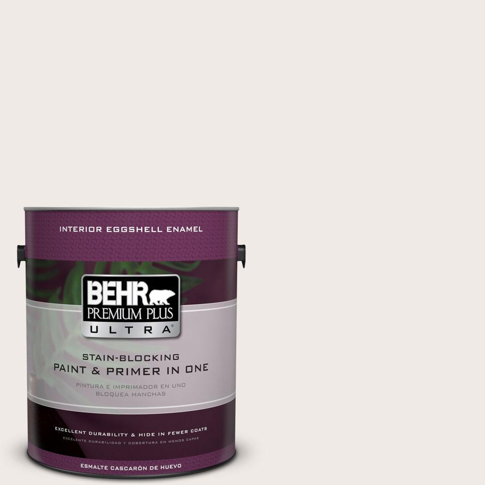 BEHR Premium Plus Ultra 1-gal. #ECC-56-2 White Feather Eggshell Enamel Interior Paint