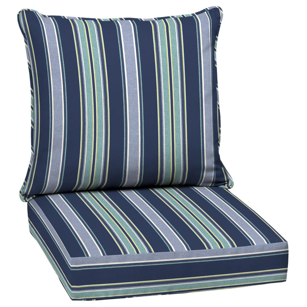 Arden Selections 24 x 24 Sapphire Aurora Stripe 2-Piece Deep Seating Outdoor Lounge Chair Cushion