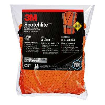 High-Visibility Fluorescent Orange Reflective Class 2 Construction Safety Vest
