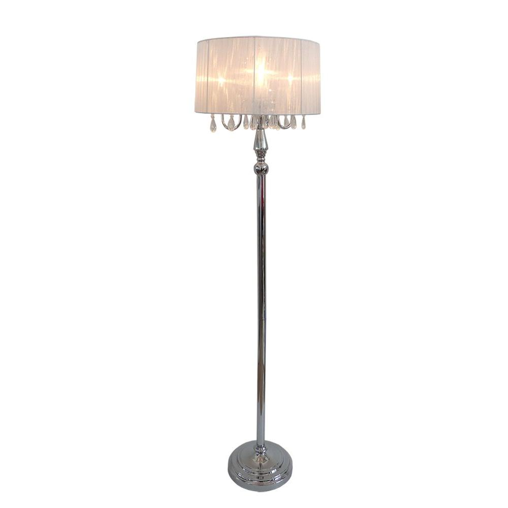 Elegant Designs Crystal Palace 61.5 in. Trendy Romantic White Sheer Shade Chrome Floor Lamp with Hanging Crystals