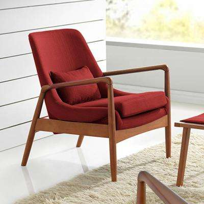 Captivating Carter Mid Century Red Fabric Upholstered Accent Chair