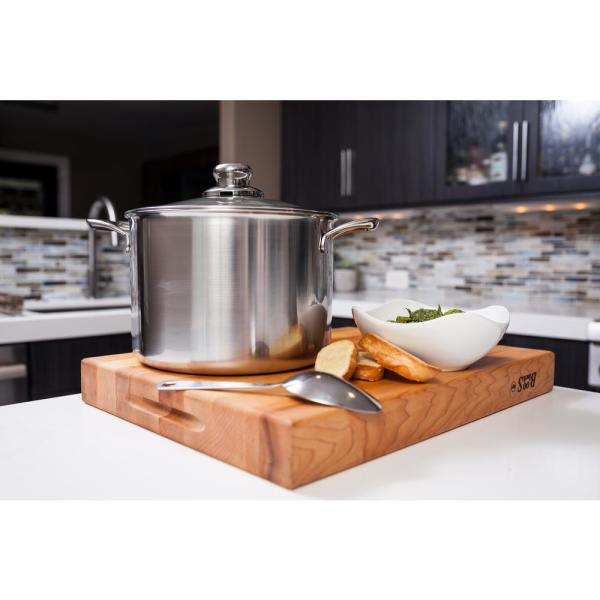 Swiss Diamond Premium Clad 7 9 Qt Stainless Steel Stock Pot With Glass Lid Sdclad31724ic The Home Depot