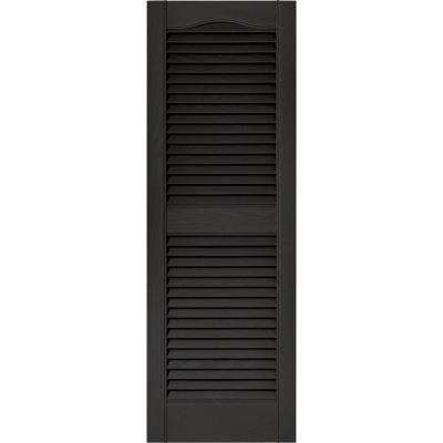 15 in. x 43 in. Louvered Vinyl Exterior Shutters Pair in #002 Black