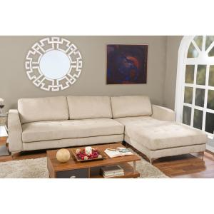 Excellent Agnew 2 Piece Mid Century Beige Fabric Upholstered Right Facing Chase Sectional Sofa Uwap Interior Chair Design Uwaporg