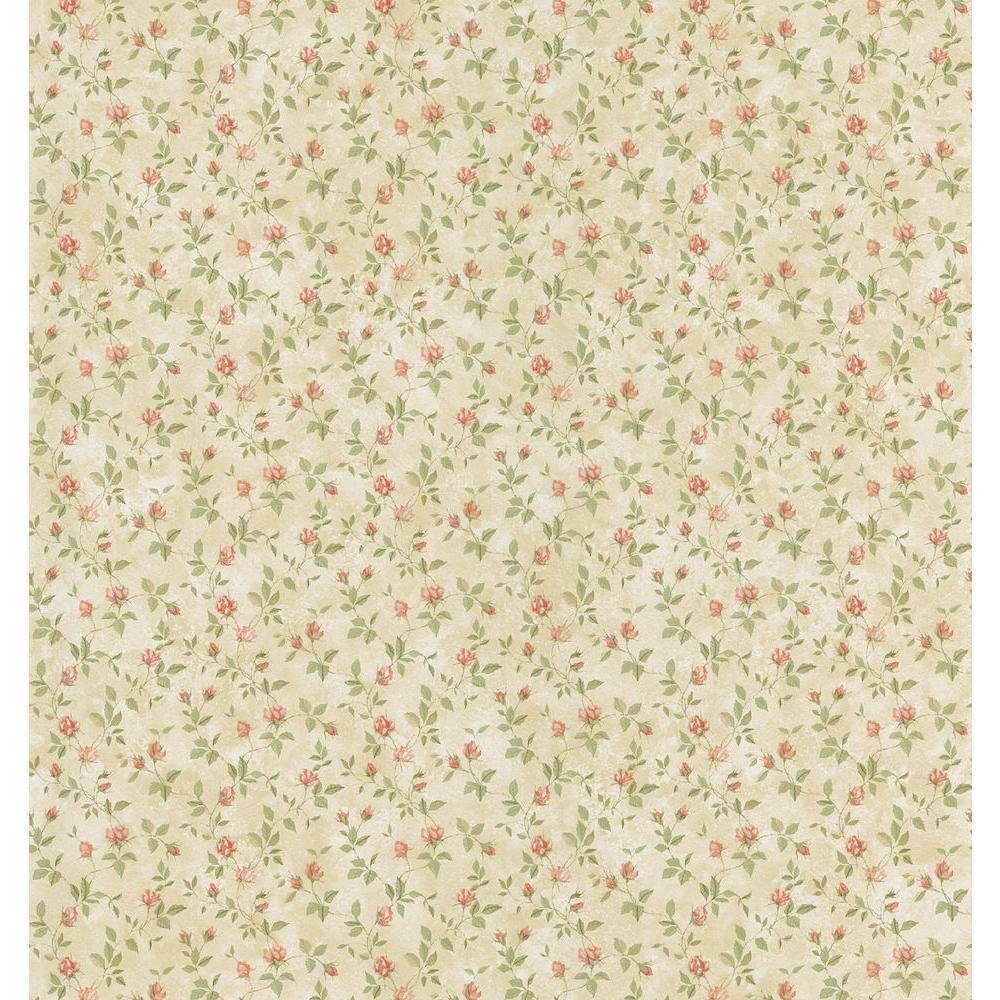 Cottage Living Cream Rosebud Trail Wallpaper Sample