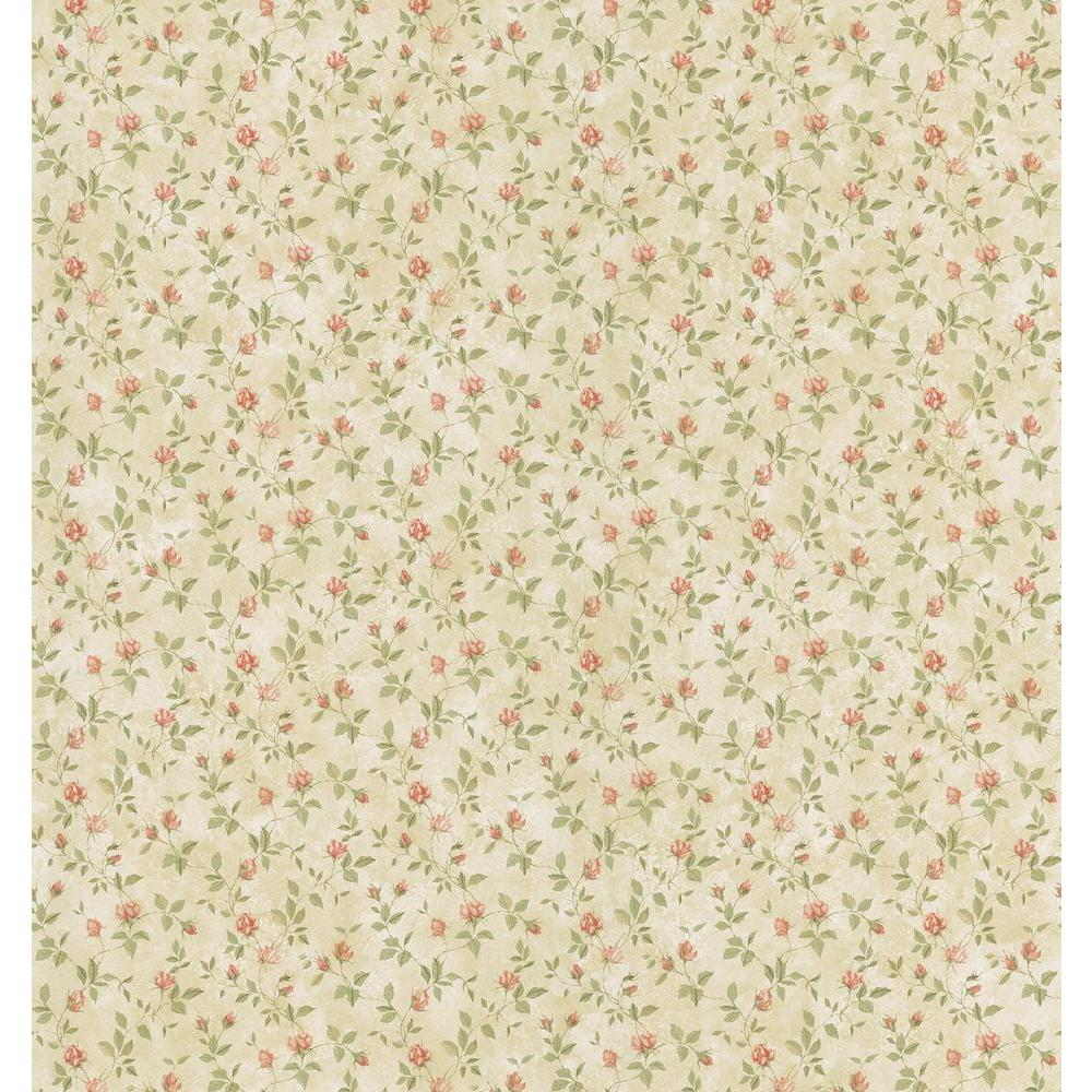 Cottage Living Cream Rosebud Trail Wallpaper Sample