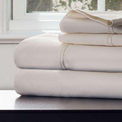 4-Piece Ivory 1000 Count Cotton Sateen Queen Sheet Set