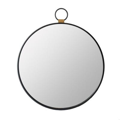 24 in. x 27.6 in. Round Antique Black Oval Round Stopwatch Wall Mirror with Single Loop