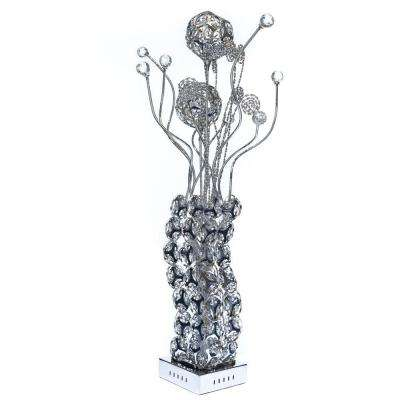 34 in. Silver Table Lamp with Crystals-Pictured with Cool White LED Bulbs