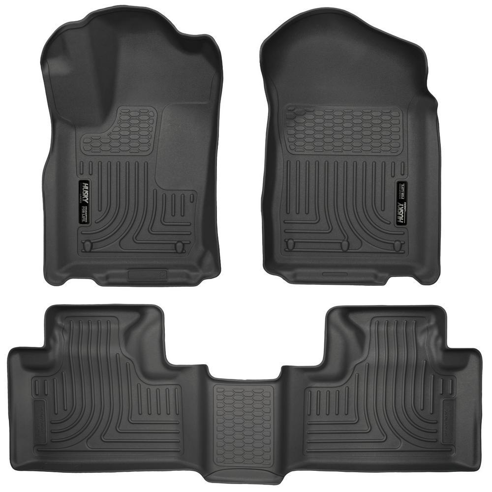 Front & 2nd Seat Floor Liners Fits 11-15 Durango/ Grand Cherokee
