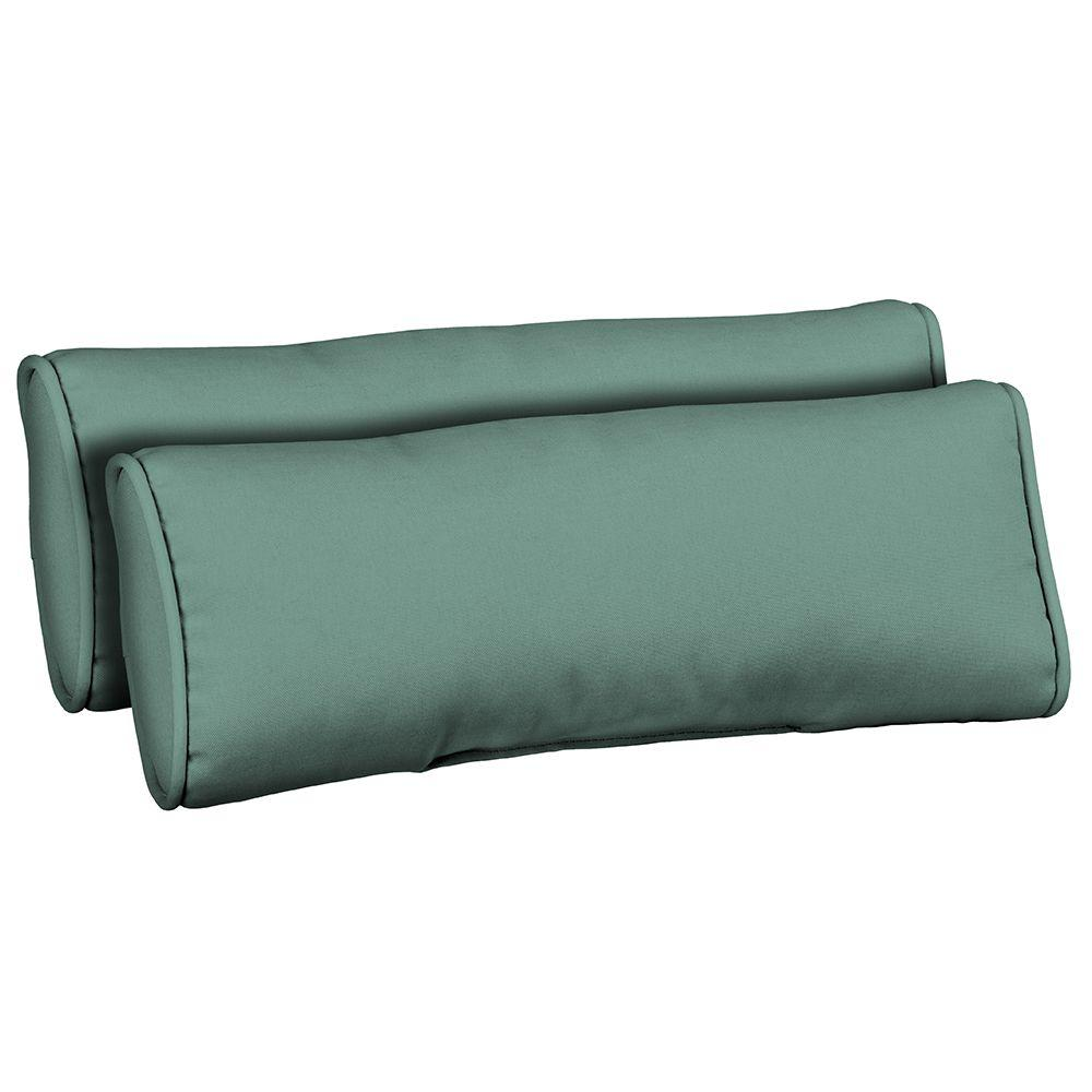 Hampton Bay Turquoise Solid Outdoor Bolster Pillow (2-Pack)