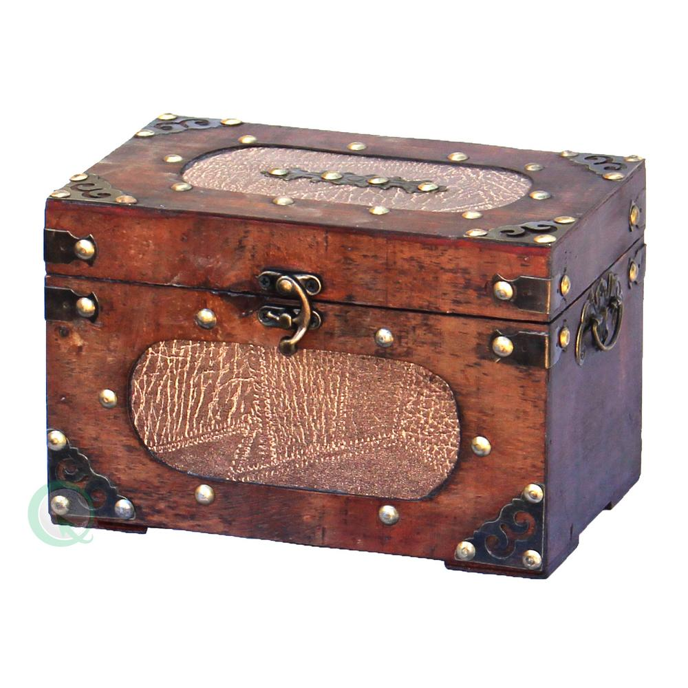 8.5 in. x 5 in.  x 5.5 in. Wood and Faux Leather Small Treasure Chest