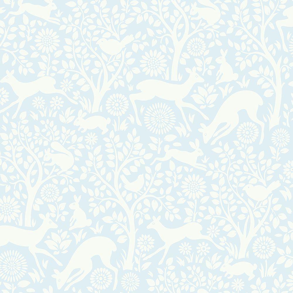 Chesapeake Anahi Light Blue Forest Fauna Wallpaper HAS01233