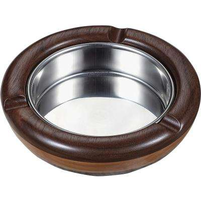 Georgia Natural Maple Wood and Walnut Round Cigarette Ashtray