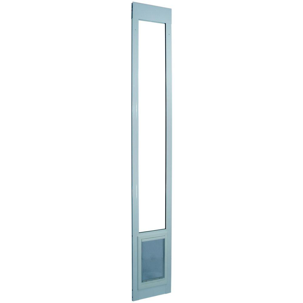 Ideal Pet 5 in. x 7 in. Small White Aluminum Pet Patio Door Fits 77.6 in. to 80.4 in. Standard Alum Slider