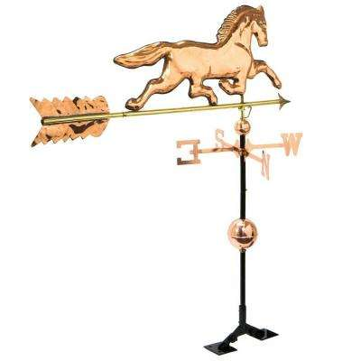 Copper Plated Horse Weathervane Polished with Roof Mount
