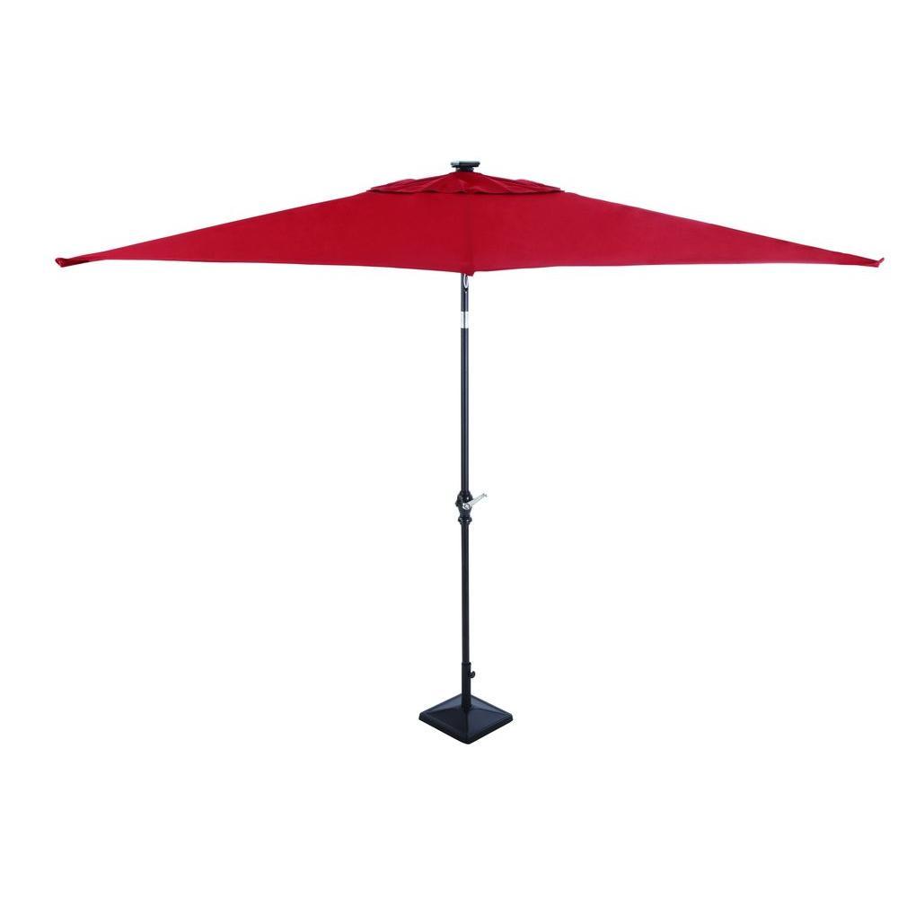 Hampton Bay 9 Ft Rectangular Solar Powered Patio Umbrella In