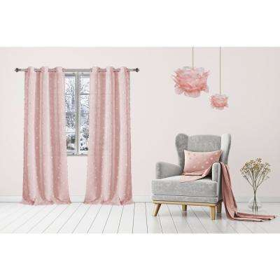 Snowball 38 in. W x 84 in. L Semi-Sheer Window Curtain Panel Pair in Rose (2-Pack)