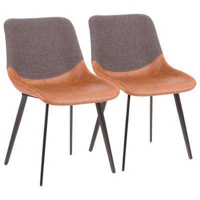 Outlaw Industrial Two-Tone Chair in Brown Faux Leather and Grey Fabric (Set of 2)