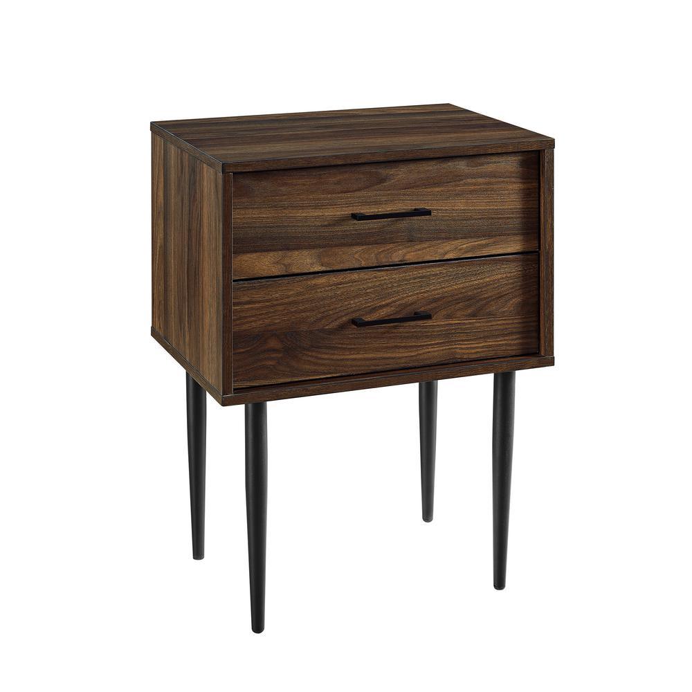20 in. Dark Walnut Olivia 2-Drawer Side Table