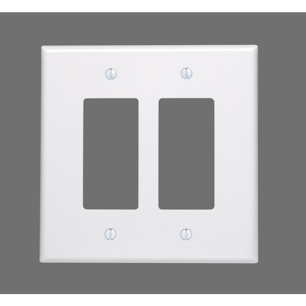 Leviton 2 Gang Decora Oversized Wall Plate Ivory 86602 The Home Depot