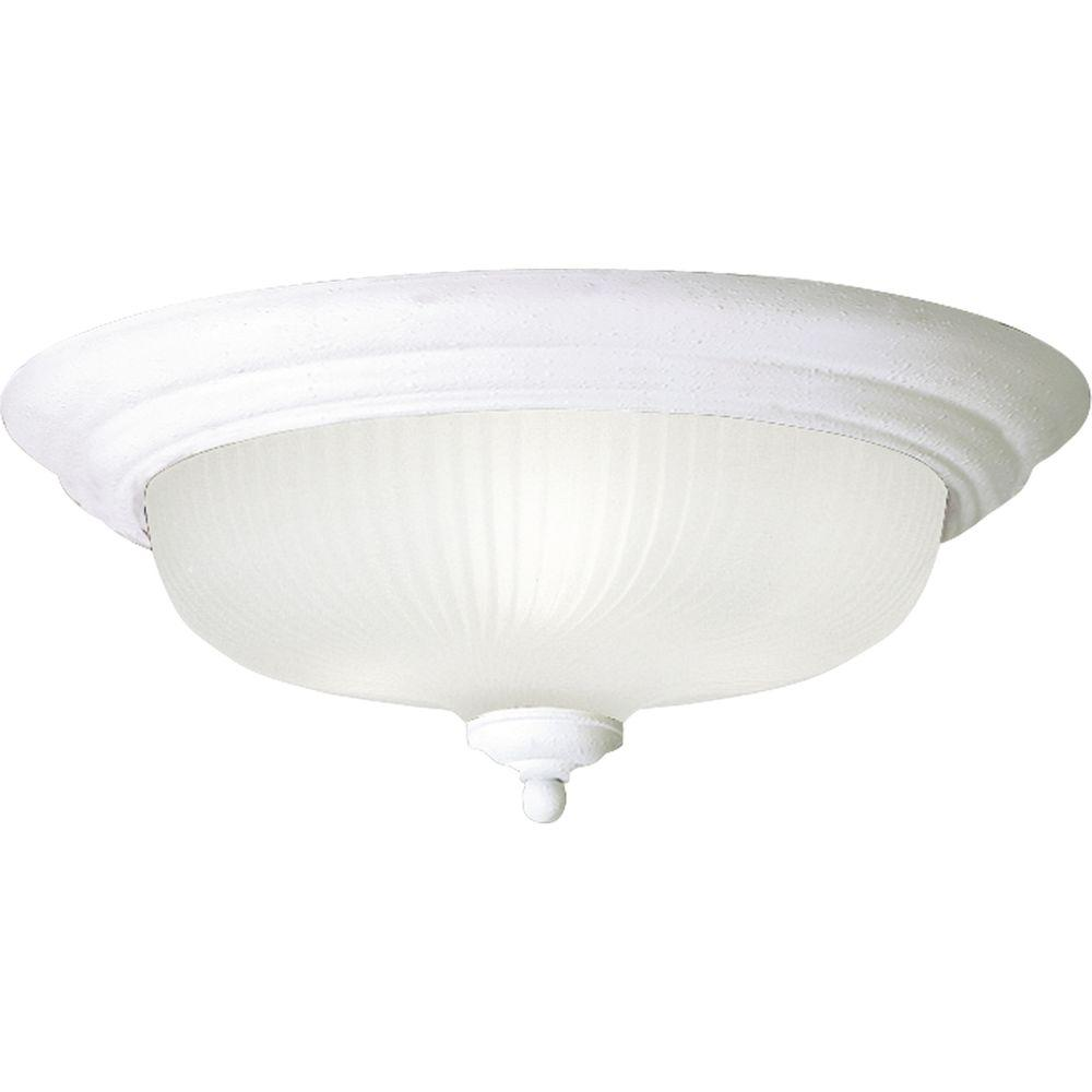 Progress Lighting 15.25 in. Swirled Glass Collection Textured White 3-Light LED Flushmount
