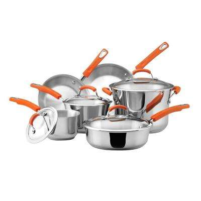10-Piece Stainless/Orange Cookware Set with Lids