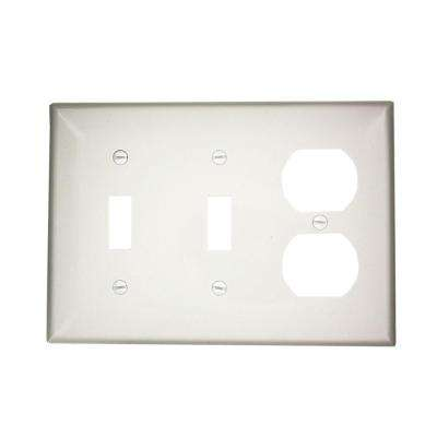 3-Gang Standard Size 2-Toggles 1-Duplex Receptacle Nylon Combination Wall Plate, White