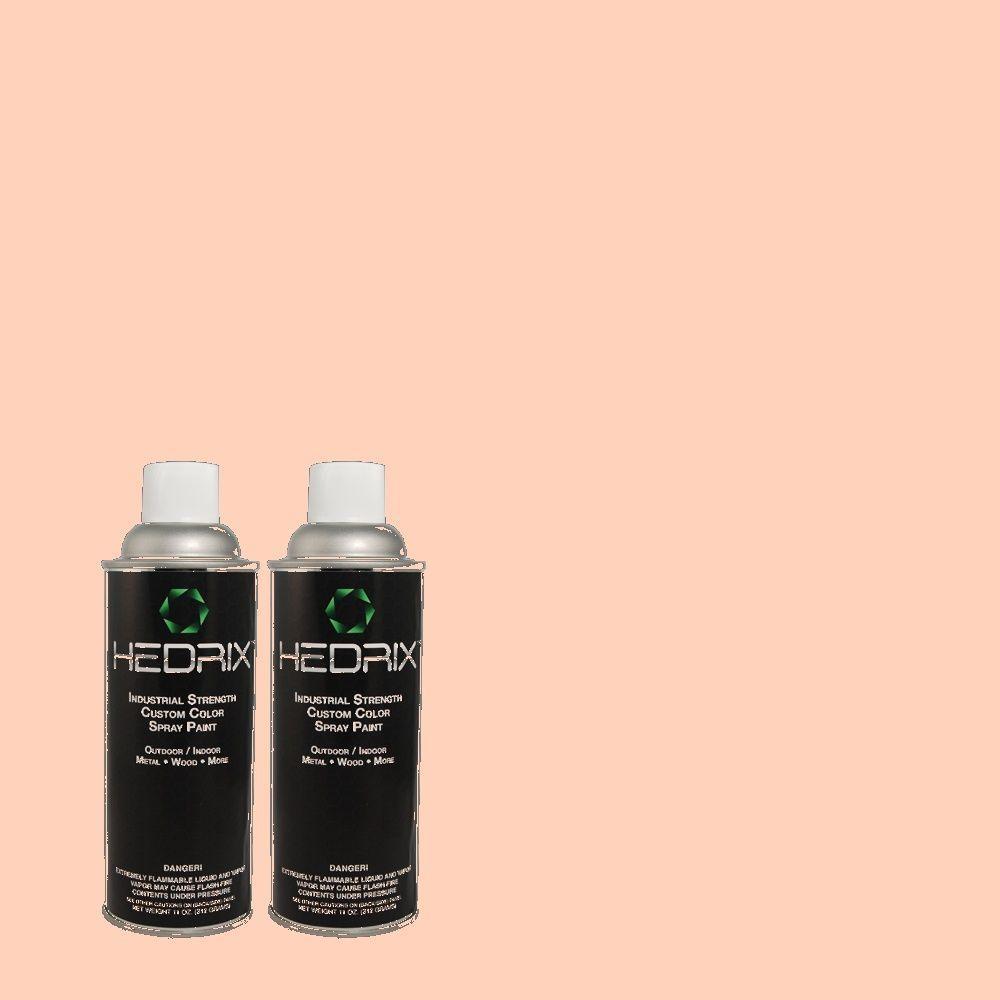 Hedrix 11 oz. Match of 1B20-2 Sheer Peach Flat Custom Spray Paint (2-Pack)