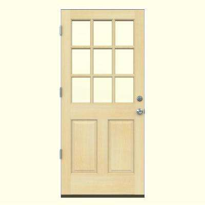 30 in. x 80 in. 9 Lite Unfinished Wood Prehung Right-Hand Outswing & 30 x 80 - Wood Doors - Front Doors - The Home Depot pezcame.com