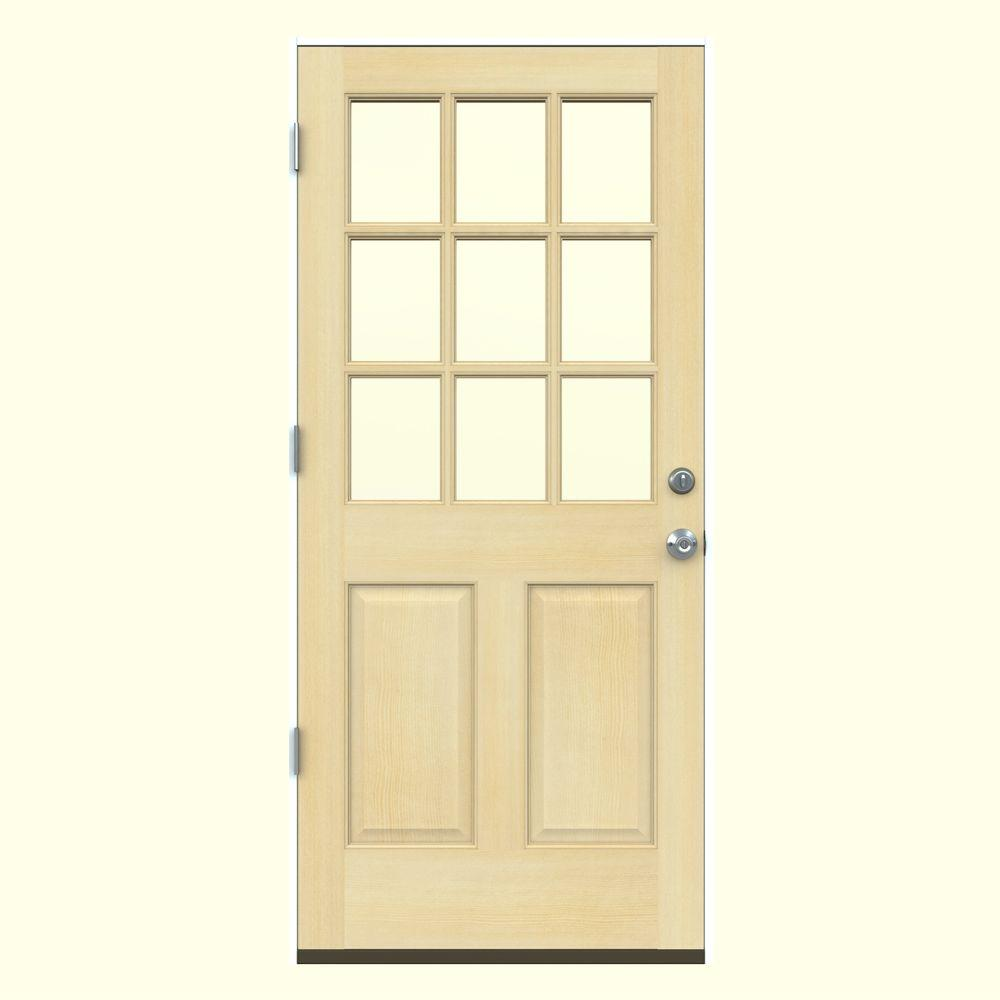 Jeld wen 36 in x 80 in 9 lite unfinished wood prehung - Right hand outswing exterior door ...