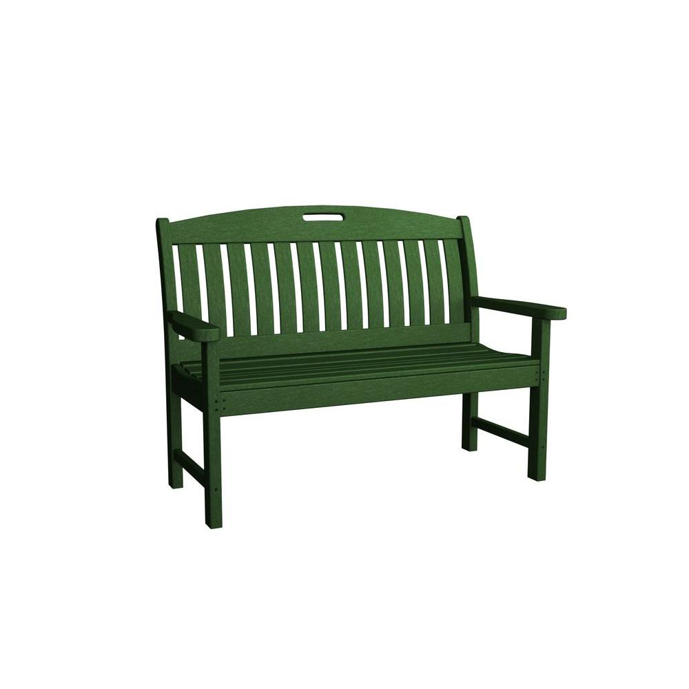 Nautical 48 in. Green Plastic Outdoor Patio Bench