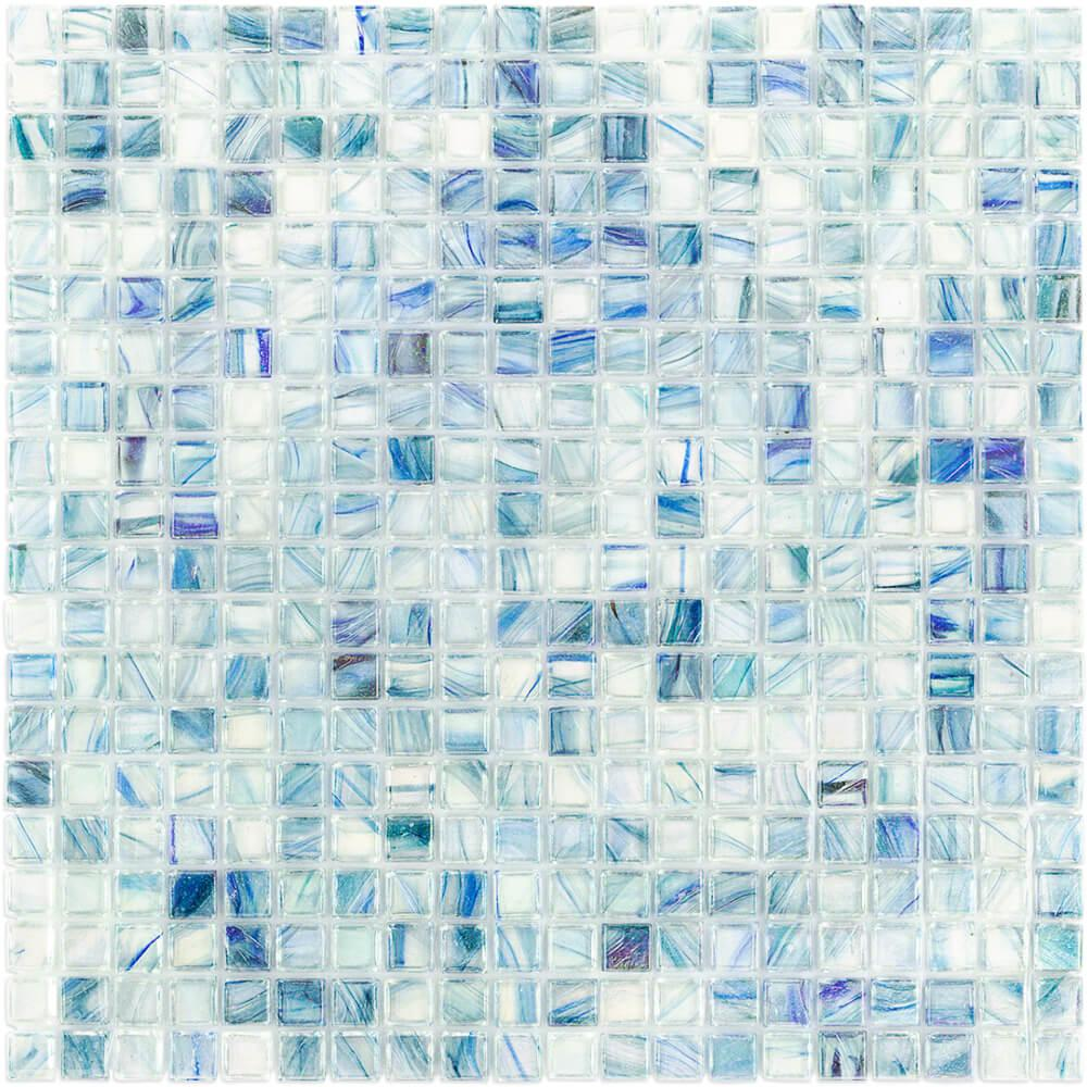 Ivy Hill Tile Breeze Blue Ocean 12-3/4 in. x 12-3/4 in. x 6 mm Glass Mosaic Tile