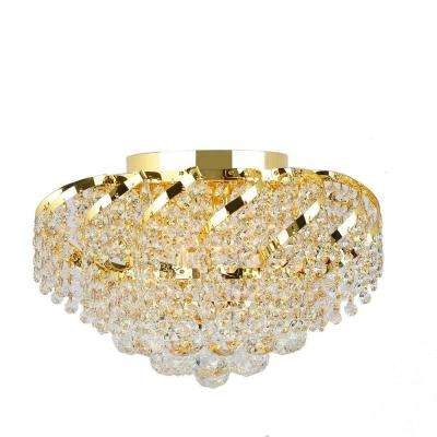 Empire Collection 6-Light Gold and Crystal Flush Mount